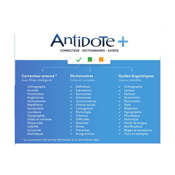 Correcteur d'orthographe Antidote+ pour les dyslexiques