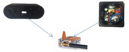 Schéma du raccordement électrique de la balise sonore Balizzo