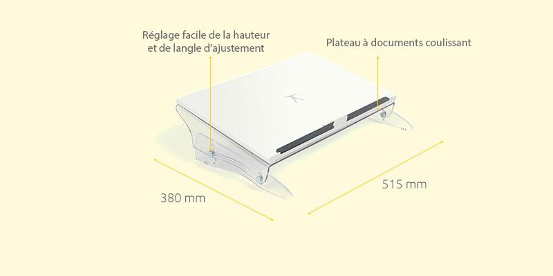Dimensions du pupitre FlexDesk 630N