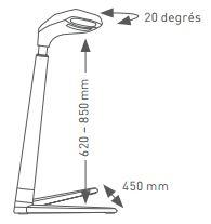 Schéma des dimensions du siège assis/ debout FIN