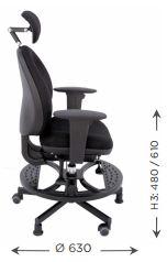 Schéma des dimensions du fauteuil ELFE pour personnes de petite taille